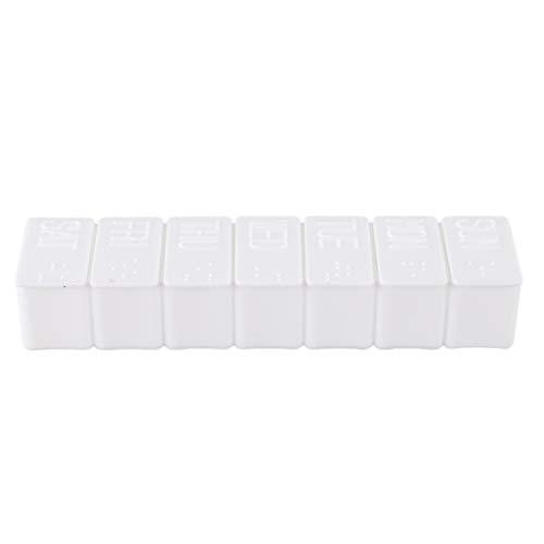 CKMSYUDG Weiss rechteckig Hartplastik Medikamentendose Pillendose Tablettenbox 7 Tage