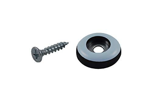 GLEITGUT 24 x Teflongleiter zum Schrauben rund 19 mm PTFE Möbelgleiter 5 mm stark Stuhgleiter