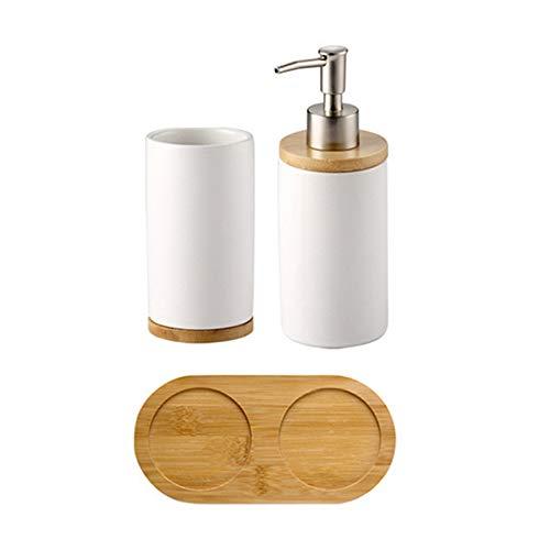BulzEU - Keramik-Seifenspender, Zahnbürstenhalter, Becher mit Bambus-Ständer, Badezimmer-Zubehör-Set – Seifenspender mit Pumpe, Zahnputzbecher, Becher...