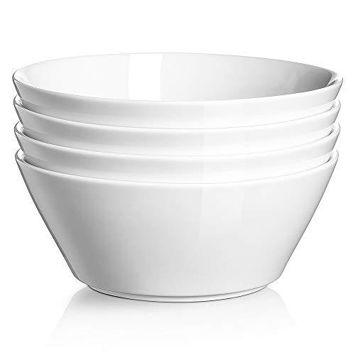 DOWAN Salatschüssel Set, Suppenschale, Müslischale Groß 1000ml, Suppenschalen mit Breitem Durchmesser, Schüssel Set, Ramen Schüssel, Weiß, 4er Pack