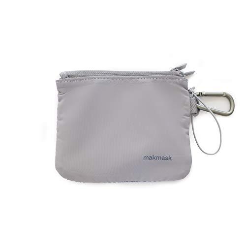 Makmask bag - Maskenbox für Mundschutz - Blau - 14 x 11 cm - Doppeltes Fach - Etui für Masken - 100% Polyester - Maximaler Schutz - Inklusive Metallkarabiner...