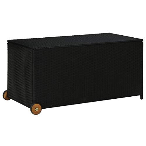 Auflagenbox Kissenbox Gartenbox Gartentruhe Aufbewahrungsbox Auflagentruhe Aufbewahrungstruhe Kissentruhe mit 2 Räder und ein Griff an der Seite für einfachen...