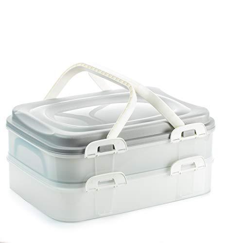 2friends Kuchen-Transportbox, Kuchenbehälter, Partycontainer mit praktischem Hebeeinsatz, Clickverschlüssen und Tragegriffen, 2 Etagen, Maße 40 x 30 x 18...