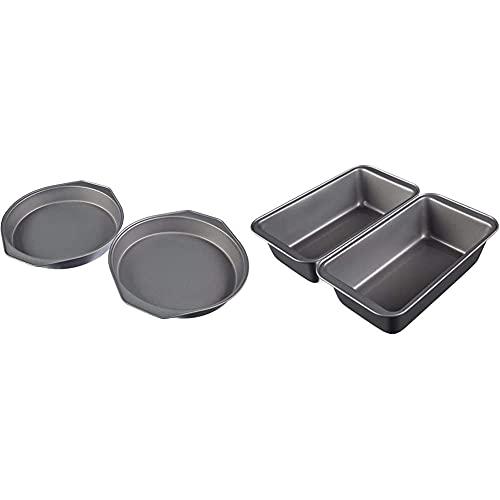 Amazon Basics - Backformen für Kuchen, 22,8 cm, antihaftbeschichtet, Karbonstahl, 2er-Pack & Amazon Basics - Brotbackform, antihaftbeschichtet, Karbonstahl,...