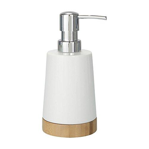 WENKO Seifenspender Bamboo Keramik - Flüssigseifen-Spender, Spülmittel-Spender Fassungsvermögen: 0.33 l, Keramik, 9 x 17.5 x 8 cm, Weiß