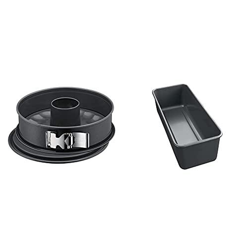 Kaiser La Forme Plus Springform 28 cm rund, 2 Böden, Flach- und Rohrboden, SafeClick-Verschluss & Plus Backform Kastenform 30 x 11 cm, Brotbackform...