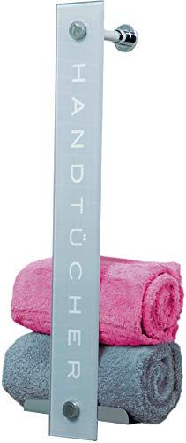 Cornat Handtuchhalter - Glas-Chrom-Design - Zum Einhängen an Duschwänden & zur Wandmontage - Platz für bis zu 8 Handtücher - Mit zwei integrierten Haken /...