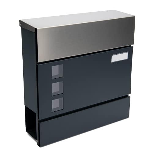 Wenkels® Briefkasten in Anthrazit mit Zeitungsfach, Namensschild und Sichtfenster - Postkasten aus Edelstahl inkl. 2 Schlüssel und Montagematerial