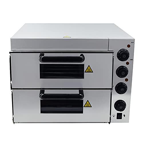 T-CAT Pizzaofen elektrisch Edelstahl Pizzabackofen 3000W 2 Kammern 350°C mit 2 Schamottstein Pizza Ofen für Gastronomie