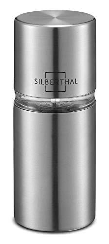 SILBERTHAL Muskatmühle mit integriertem Vorratsbehälter für 4 Nüsse - Muskatnussmühle aus Edelstahl