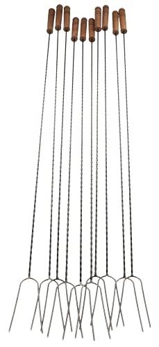 KOTARBAU® 10er Set Grillspieß 100cm extra Langer Spieß mit Zwei Zinken für Lagerfeuer mit Holzgriff
