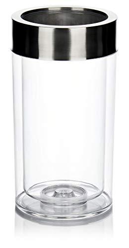 COM-FOUR® Flaschenkühler transparent, Behälter zum Kühlen von Wein, Sekt, Champagner oder Softdrinks, doppelwandiger Getränkekühler (1 Stück -...