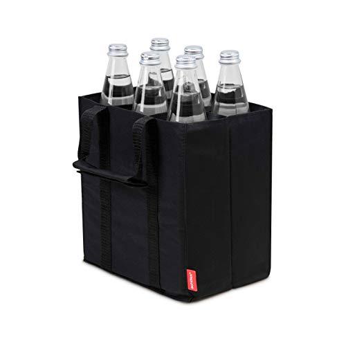 achilles Bottle-Bag 6er, Flaschentasche für 6 x 1,5L Flaschen, Flaschenträger in schwarz, 25 cm x 17 cm x 27 cm