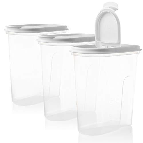 Vorratsbehälter Set mit Klappdeckeln, 3-teilig, 2 Liter, 100% recyclebar, ideale Größe z.B. für Cornflakes oder Vorratsdose, Weisse Deckel, Made in EU,...