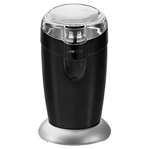 Clatronic KSW 3306 S // Elektrische Kaffeemühle mit Schlagwerk // Edelstahl // 40 g Fassungsvermögen // Impuls-Betrieb // Schwarz