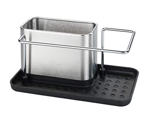 WENKO Spülorganizer Edelstahl Orio - Abtropfbehälter für die Spüle, Spülbecken-Caddy, Edelstahl rostfrei, 21 x 10.5 x 12 cm, Silber
