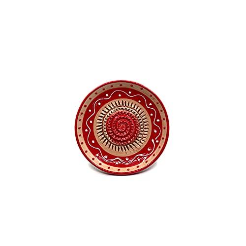 Keramik Reibeteller - ideal für Knoblauch, Ingwer, Parmesan - Rot & Hellbraun - handbemalt - Made in Spain