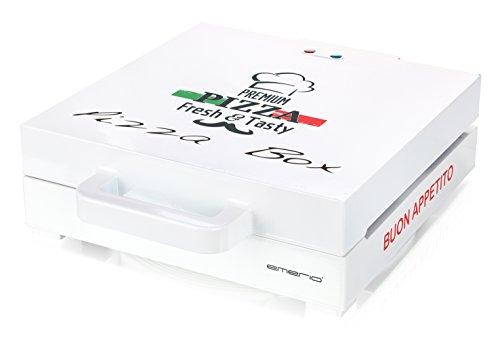 emerio | PIZZABOX | PB-115331 | 1.200 W | für Pizza bis 30cm | Antihaftbeschichtung | Ober- & Unterhitze | klassisches Pizzakarton-Design