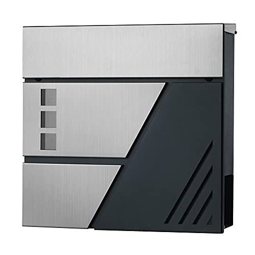 SONGMICS Briefkasten, Wandbriefkasten mit Sichtfenster, aus Edelstahl, für Haustür, mit Schloss und Schlüsseln, silbern-anthrazit GMB053G01