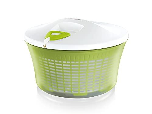 Leifheit Salatschleuder ComfortLine-Serie mit Rechts-/links-Drehmechanismus im Deckel, Salattrockner inklusive Salatschüssel und Sieb, trocknet den Salat...