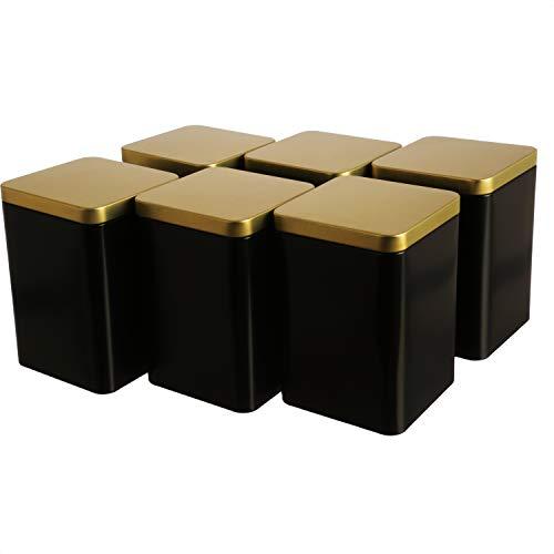 Dosenritter   6 x edle eckige Vorratsdose/Teedose, aromadicht aus Metall für je 240g Tee, Schwarz Gold   13 x 9 x 9 cm (H,B,T)   auch ideal als Gewürzdose