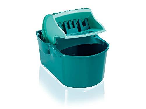 Leifheit Wischtuchpresse Profi Compact mit Henkel, rückenschonender 8 Liter Putzeimer zum Auspressen des Wischmopps ohne nasse Hände, Presse für Bodenwischer...