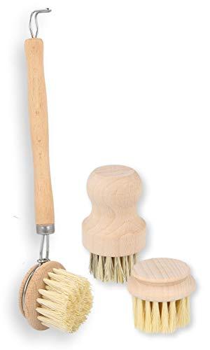 Lantelme Obst und Gemüsebürsten mit Naturborsten aus Holz und Sisal umweltbewußte Küchen Bürsten Set Champignonbürste 8149
