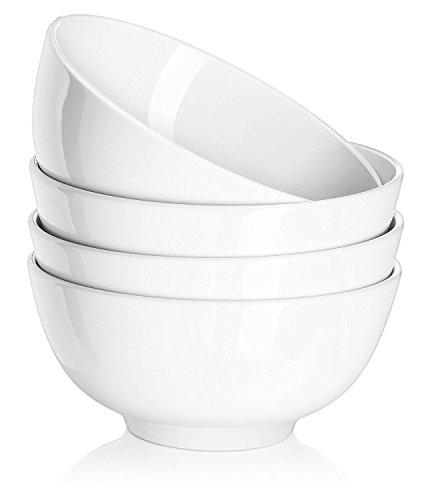 DOWAN Müslischale aus Porzellan 600ml, Salatschüsseln Keramik, Suppenschalen, Suppenschüsseln, Müslischüsseln, Weiß, 4er Pack