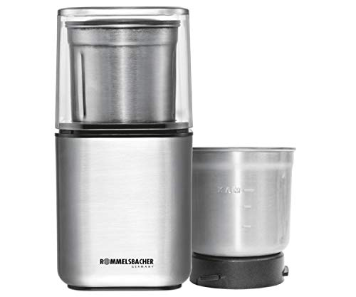 ROMMELSBACHER Gewürz und Kaffee Mühle EGK 200 - 2 Edelstahlbehälter mit Schlagmesser & Spezialmesser, Füllmenge 70 g, Mahlgrad über Mahldauer wählbar,...