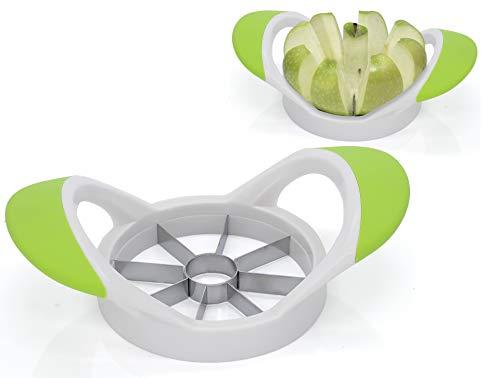 Granny's Kitchen Apfelschneider Obstschneider für Äpfel/Birnen Spalten - Apfelteiler & Entkerner mit Edelstahl Klingen/ergonomischer Griff Grün Weiß