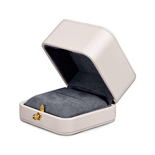Yousiju Leder Ring Geschenkbox Einzelner Ring Inhaber Fall Weißer Schmuck Anzeigen Halter Aufbewahrungsbox Anhänger Organizer (Color : B, Size : As shown)