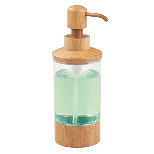 iDesign Formbu Seifenspender, Badaccessoire aus Bambus und Kunststoff, durchsichtig/bambusfarben
