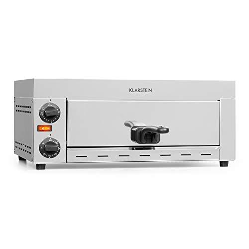 Klarstein Vesuvio Pro Pizzaofen Gastro, 1130 Watt, 1 Kammer, 360 x 330 mm Backfläche, Temperatur bis zu 300 °C, Krümelschublade, Edelstahl, Pizza Backofen,...