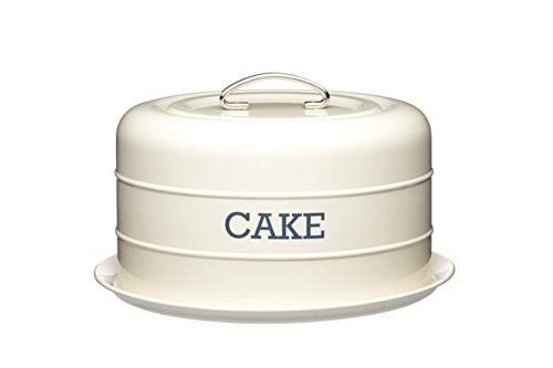 KitchenCraft Living Nostalgia Luftdichte Runde Kuchenvorratsdose, Kuchenglocke/Kuchenplatte zum Transportieren für Hobbybäcker, Tragegriff mit Deckel und...