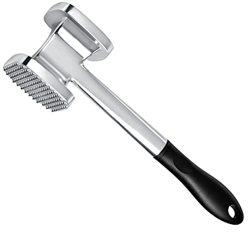 'N/A' 28cm Fleischklopfer Fleischhammer aus Doppelseitig Alulegierung, Metall Schnitzelhammer für Hähnchen, Rind, Schwein, Steak usw