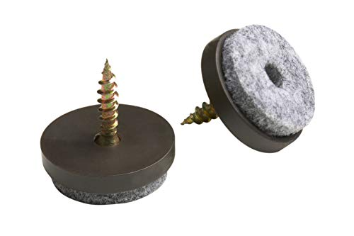 Metafranc Filz-Gleiter Ø 20 mm - Mit Schraube - braun - 20 Stück - Effektiver Schutz Ihrer Möbel & Stühle / Möbelgleiter-Set für empfindliche Böden /...