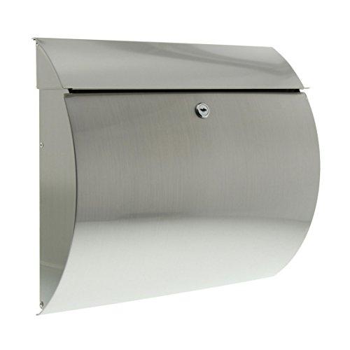 Burg-Wächter Edelstahl-Briefkasten mit Öffnungsstopp, A4 Einwurf-Format, EU Norm EN 13724, Toscana 3856 Ni, Silber