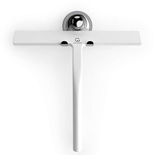 GÜTEWERK Duschabzieher Set mit Haken - weiß 23 cm - ohne Bohren breiter Silikon Abzieher Dusche Bad Badezimmer Fenster Edelstahl Fensterabzieher...