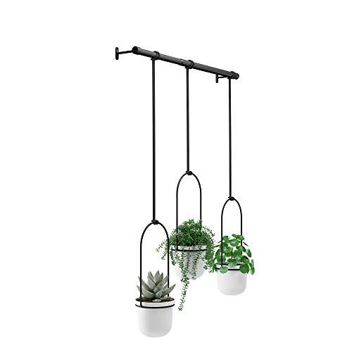 Umbra Triflora Vase, Hängeblumentopf, Wandvase, Blumenampel für Wand-und Deckenanbrinung, Melamin, Metall, Weiss/Schwarz, 3er-Set