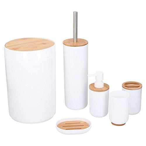 Alpina! Badezimmer- und Toiletten-Set, 6 Teile u.a. mit Zahnputzbecher, Seifenspender, Seifenschale, Abfallbehälter, Toiletten-Bürste mit Halter, Kunststoff...