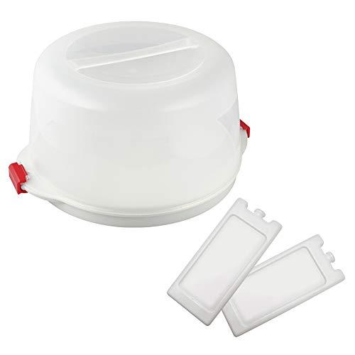 Dr. Oetker Kuchentransportbox Ø 38 x 19 cm Bake & GO, für alle gängigen Kuchengrößen, Tortenbutler mit Tragehenkel und Fach für Kühlakkus, inklusive...