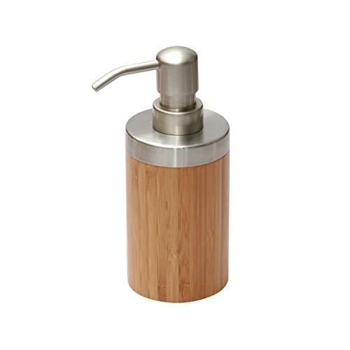 axentia Seifenspender Bonja aus Edelstahl & Bambus – Spender für Flüssigseife – Seifendispenser für Küche, Bad & WC – Pumspender für flüssige Seife...