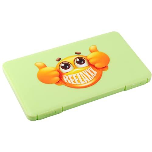 REELAXXX - Maskenbox Kinder Grün - Schmuck Perlen - Aufbewahrungsbox Masken - Karten und Zubehör - Box für Maske - Aufbewahrung - Maskentaschen - Etui Mask...