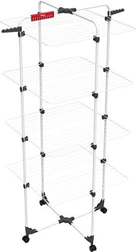 Vileda Mixer 4 Wäscheständer, Eco-Verpackung, 40 m Leinenlänge, 4 Ebenen für 4 Waschladungen, Flex-Gelenk, rollbar, Stahl