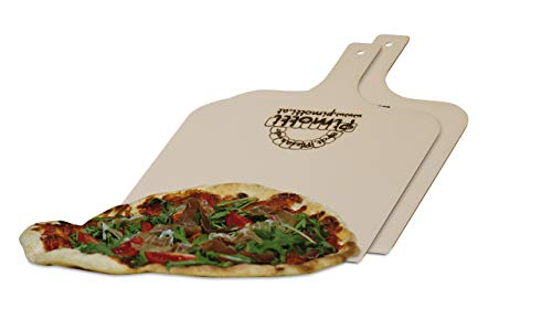 2xPimotti Pizzaschaufel/Brotschaufel/Flammkuchenbrett aus naturbelassenem Sperrholz für Pizzastein