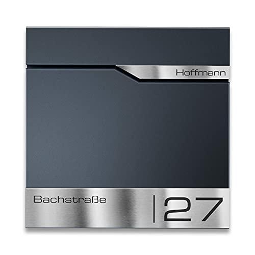 Metzler Briefkasten mit V2A Edelstahl-Namensschild Siebert - Design Wandbriefkasten inkl. Zeitungsfach - Postkasten in Anthrazit RAL 7016 - Größe: 37 x 37 x...