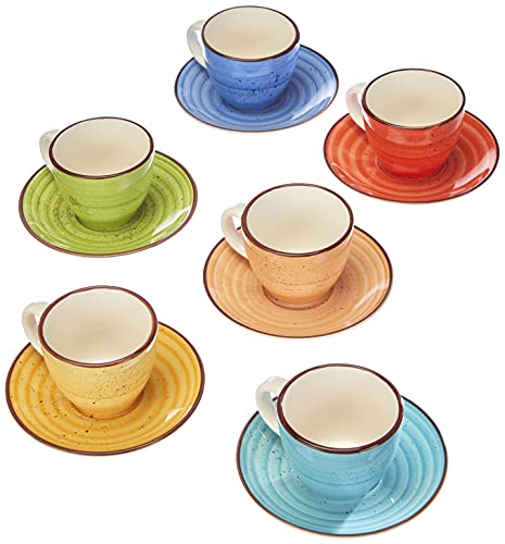 Tognana LS18534M043 Espressotasse mit Teller, C90 Art & Pepper, Stoneware