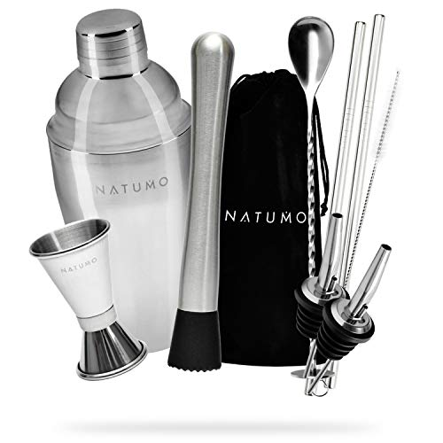 NATUMO ® Cocktail Shaker Set 10 Teilig - Premium Cocktail Set Cocktailshaker - inkl. Doppel Messbecher, 2x Ausgießer, Barstößel, Löffel, 2x Strohalm...