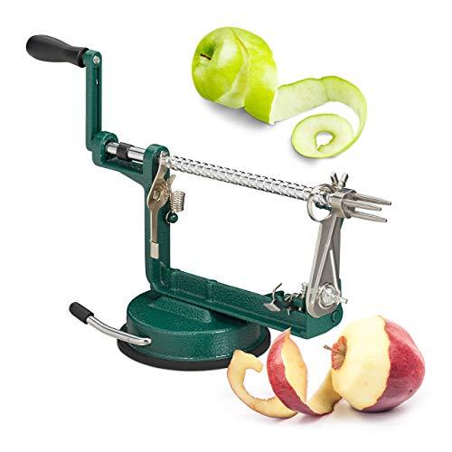 Relaxdays Apfelschälmaschine, Apfel schneiden, schälen, entkernen, 3 in 1, mit Kurbel, HxBxT 13,5 x 30,5 x 10,5 cm, grün