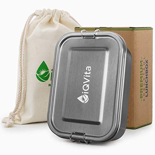 iQVita® Premium Edelstahl Brotdose – 800ml – Auslaufsichere Lunchbox mit Flexibler Trennwand – 2 Fächer – BPA- & Plastikfrei – Umweltfreundlich und...
